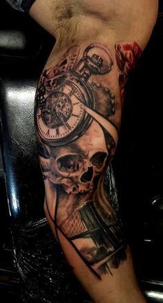 Chronic Ink Tattoo, Toronto Tattoo -Pocket watch and skull in progress by Csaba