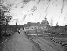 """""""View of Santa Fe, Chapel of San Miguel and Saint Michael's College from the Bridge Santa Fe"""" Photographer: Ben WittickDate: 1881"""
