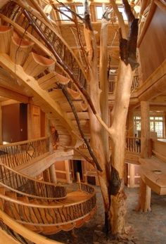 The 30 Most Gorgeous Living Spaces In The World | Log Homes, Logs and Staircases