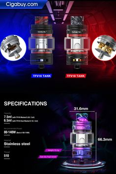 SMOK TFV18 Sub Ohm Tank maintains straight wide-bore resin drip tip and 7.5ml large capacity with Press-to-slide top filling design.