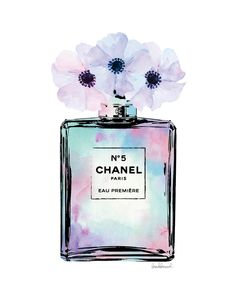 Chanel Watercolor bottle with poppies Mint Pink by hellomrmoon (Bottle Painting Vintage)