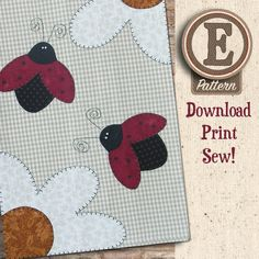 (TWB-EP13) E-pattern P13 Ladybugs Patternlet Bear Design, My Design, Buy Tea, Small Sewing Projects, Tea Towels, Map, Quilts, Ladybugs, Pattern