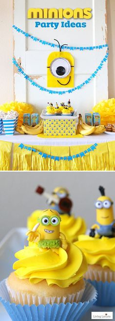 Fun DIY ideas for a Minions Party or Despicable Me Minion Themed Birthday Party. Fun DIY ideas for a Minions Party or Despicable Me Minion Themed Birthday Party. 3rd Birthday Parties, Birthday Fun, Diy Minion Birthday Party, Birthday Themes For Kids, Cute Birthday Ideas, Birthday Cake, Kids Party Themes, Birthday Decorations, Bolo Minion