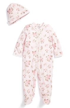 Little Me 'Heirloom Rose' Footie & Hat (Baby Girls) available at #Nordstrom