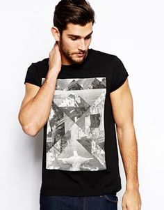 ASOS T-Shirt With Fractal Rio Print And Roll Sleeves - Kraggy print