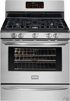 """Explore this one (I like features)...Frigidaire FGGF3054M 30"""" Freestanding Gas Range with 5 Sealed Burners, 5.0 cu. ft. True Convection Oven, Self-Clean, Quick Preheat, Temperature Probe and Storage Drawer"""