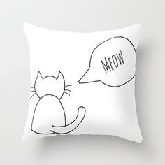 Cat Throw Pillow by Jsk CA - $20.00