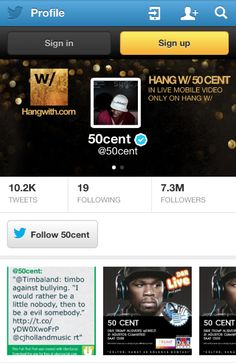 How dope is 50 Cent's @Twitter Inc. banner?! Hang w/ 50 Cent in LIVE Mobile Video - ONLY on Hang w/! Follow him + watch his next live broadcast here --> hangwith.me/50cent #50cent #live #broadcast #app #hangwith