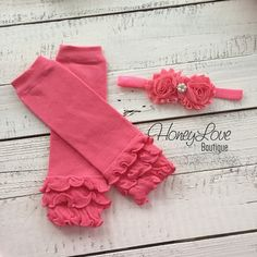 Coral Pink Ruffle Leg Warmers and matching headband - Leg Warmers only