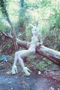 """This bunny in this picture reminds me of the movie """"Donnie Darko""""."""
