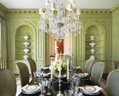 Pistachio Green Dining Room - love the millwork! Green Dining Room, Elegant Dining Room, Green Rooms, Dining Room Design, Dining Rooms, Green Walls, Urban Deco, Rooms Ideas, Casa Patio