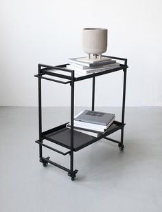 12 of the best minimal bar trolleys - Kristina Dam Studio - Bauhaus trolley Bar Trolley, Serving Trolley, Serving Table, Drinks Trolley, Bar Carts, Bauhaus, Contemporary Side Tables, Contemporary Furniture, House Doctor