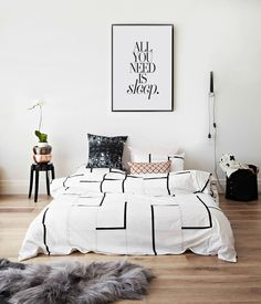 All You Need Is Sleep - Bedroom Print - Black and White Art - Scandi Art - Art & Collectibles - Digital Print - Inspirational Quote