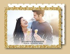 Glitter Frame Save the Date Card