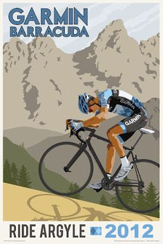 Steve Thomas [Illustration]: New cycling poster and t-shirt for Team Garmin - Barracuda