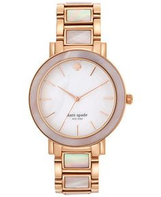 kate spade new york Women's Gramercy Grand Mother-of-Pearl and Gold-Tone Bracelet Watch 38mm 1YRU0394