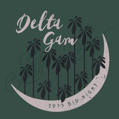 Delta Gamma | Bid Day | Crescent Moon | Tropical | Palm Tree | Beach Theme | Hawaiian | Script | South by Sea | Greek Tee Shirts | Greek Tank Tops | Custom Apparel Design | Custom Greek Apparel | Sorority Tee Shirts | Sorority Tanks | Sorority Shirt Designs