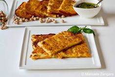 Farinata di Ceci - A typical street food from Liguria: a savoury treat made with chickpea flour, water and extra virgin olive oil and then baked. Raw Food Recipes, Italian Recipes, Great Recipes, Classic Italian Dishes, Good Food, Yummy Food, Pesto Recipe, Gluten Free Baking, Fabulous Foods