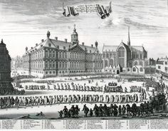 Funeral of Michiel de Ruiter at De Dam,  people moving towards the Nieuwe Kerk, on 18th of March 1677.