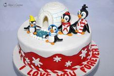 Tort Pingu Family — Alina's Cuisine Snowman Cake, Pingu Cake, Mousse, Caramel, Birthday Cake, Desserts, Food, Kitchens, Sticky Toffee