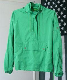 s a l e / / / Bright Green 90s Half-Zip Windbreaker Jacket with Hood / / / s a l e