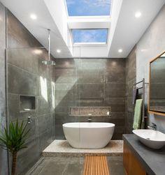 Awesome Bathroom Skylight Design For Bathroom Inspiration 20 Bathroom Red, Bathroom Wallpaper, Dream Bathrooms, Amazing Bathrooms, Small Bathroom, Master Bathroom, Bathroom Plans, Bathroom Showers, Bath Shower