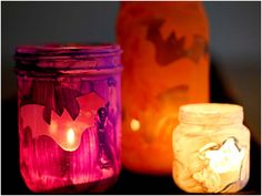 Toddler-made luminaries.  These are Halloween but I think that they'd be fun for any holiday.  Independence Day is coming.  Maybe tape stars and give them red white and blue tape?  Or flags or something.