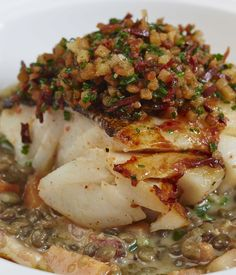 with lentils A beautifully simple dish from Eric Chavot, this rustic cod with lentils recipe is a true winter warmer.A beautifully simple dish from Eric Chavot, this rustic cod with lentils recipe is a true winter warmer. Cod Recipes, Lentil Recipes, Vegetarian Recipes, Dinner Recipes, Cooking Recipes, Healthy Recipes, Cooking Games, Cooking Videos, Salad Recipes