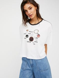We The Free Graphic Hot Rod Tee   Simple cotton tee featuring a relaxed, boxy fit and a galaxy-inspired print with embroidered accents.