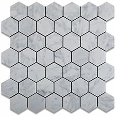 "2"" Hexagon Pattern Bianco Carrara White Marble Honed Mosaic Tile. #Hexagon_Pattern #Bianco_Carrara_White #Marble_Honed_Mosaic_Tile"