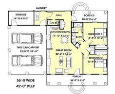 Plan #15325: 2 bedroom, 1.5 bath house plan with 2-car garage. Low country style, 1 story | HousePlansPlus.com