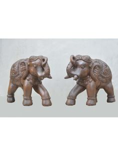 Pair of Elephant with Upraised Trunk wooden Sculpture