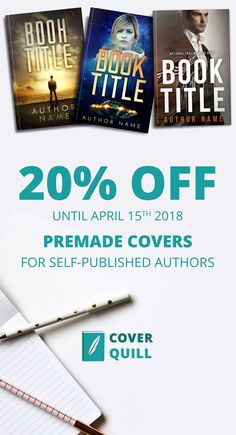 20% off any premade book cover until April 15th 2018. Thriller covers, fantasy covers, sci fi covers, historical covers... #premadebookcovers