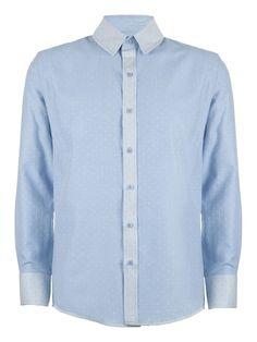 Cock & Bull Menswear // Slim Fit Sky Blue Organic Cotton Chambray Shirt // Tissu Chambray à pois Ciel, Amandine Cha -- Les Trouvailles d'Amandine