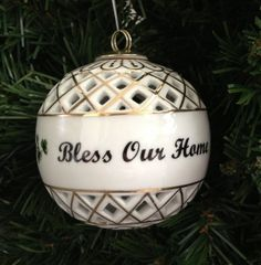 """An Irish Christmas Ornament that reminds us to ask for God's blessings. This 3"""" porcelain Bless Our Home Ornament is a lovely gift to give to someone or to yourself!"""