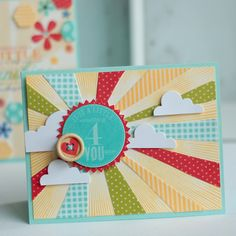 Sunshine card from Betsy Veldman.  Love her card designs. Cute Cards, Diy Cards, Craft Cards, Zealand Tattoo, Karten Diy, Card Making Inspiration, Card Tags, Creative Cards, Illustrations