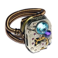 Steampunk Ring - Heliotrope and aquamarine crystal by CatherinetteRings.deviantart.com on @DeviantArt