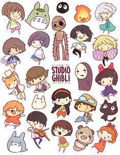 I love Studio Ghibli so much. And chibi Studio Ghibli? Art Studio Ghibli, Studio Ghibli Films, Studio Ghibli Characters, Hayao Miyazaki, Film Animation Japonais, Animation Film, Howls Moving Castle, My Neighbor Totoro, Geeks