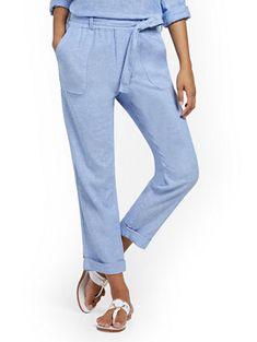 Shop Linen Belted Boyfriend Pant. Find your perfect size online at the best price at New York & Company. Linen Pants Outfit, Linen Blazer, Long Floral Kimono, Rihanna Outfits, Boyfriend Pants, Ankle Pants, Petite Fashion, Dresses For Sale, Clothes For Women