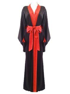 Jenny Packham - Long Satin Robe (Black/Poker)