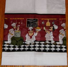Italian FAT CHEF Bistro Red Black White Tier & Valance Kitchen Window Curtains