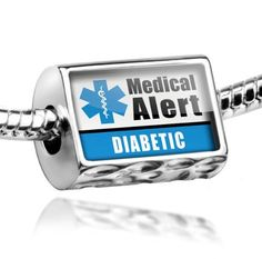 "Neonblond Beads Medical Alert Blue ""Diabetic"" - Fits Pandora Charm Bracelet from NEONBLOND Jewelry & Accessories $18.99"
