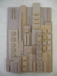 cardboard cityscape - Paul Klee goes Sculpture Lessons, Sculpture Projects, Sculpture Art, Art Projects, Cardboard Sculpture, Cardboard Art, Cardboard Relief, Classe D'art, 3d Art
