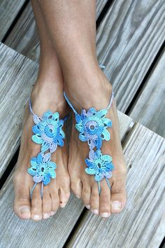 Crochet barefoot sandals Blue Turqouise nude shoes by Rukodelnitsa, $15.00