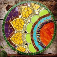 mandala mixed Handmaid OOAK Mosaic Mandalla Wall Art, by Thyme Again Mosaic Studio Mosaic Pots, Mosaic Wall, Mosaic Glass, Mosaic Tiles, Stained Glass, Glass Art, Garden Mosaics, Mosaic Mirrors, Mosaic Table Tops