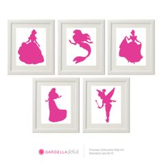 Customizable Disney Princess Silhouette Wall art, Disney Baby Cinderella, Digital Files or Physical Prints