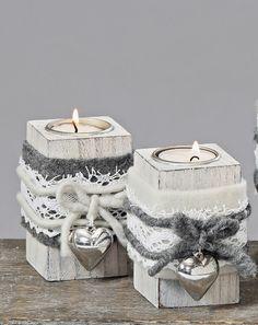 Teelichthalter  Shabby Filz Herz Landhaus Holz grau weiß Teelicht Set (4489000)
