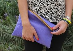 Obsessed with our new Jacaranda purple leather :) // New summer colors! Available now. #essexla #thelouie #clutch #purple