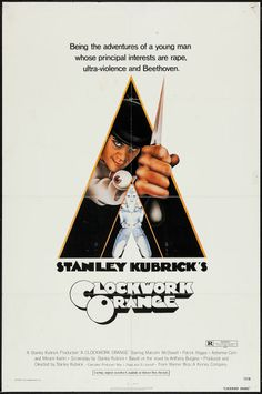 """A Clockwork Orange (Warner Brothers, 1971). One Sheet (27"""" X 41"""") R Rated Style. Science Fiction. Starring Malcolm McDowell, Patrick Magee, Michael Bates, Warren Clarke, Adrienne Corri, Carl Duering, Paul Farrell, and David Prowse. Directed by Stanley Kubrick."""