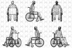 Wireframe wheelchair man - vector Illustration of isolated objects over blue background. Front, side, back and axonometric view.